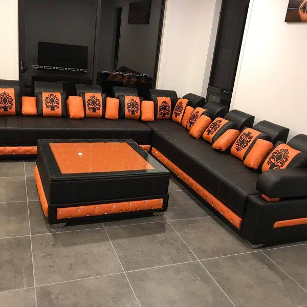 L-Shaped-Black-and-orange-Sofa-set