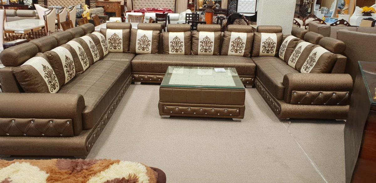 White-and-brownish-sofa-set