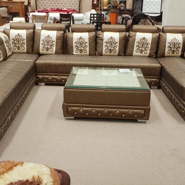 White and Brownish Sofa Set