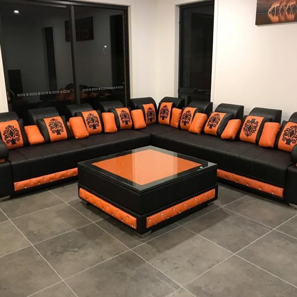 L Shaped Black and orange Sofa set