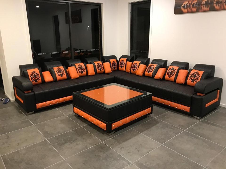 L Shaped Black and orange Sofa set