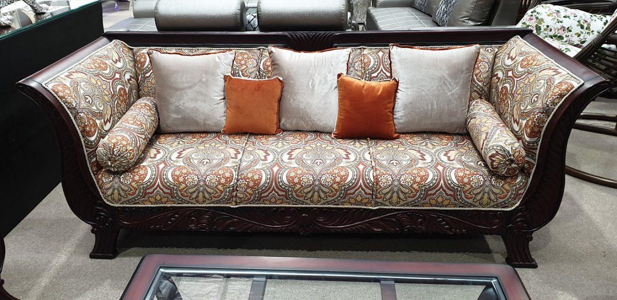 Luxury-Dark-Wood-Goden-Beige-Print-Cushioned-Sofa-Set