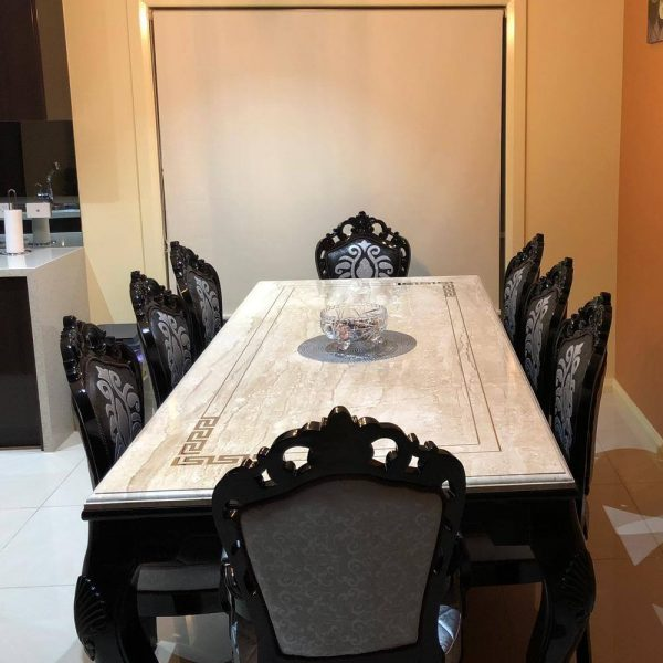 Marble Top Black Dining Table