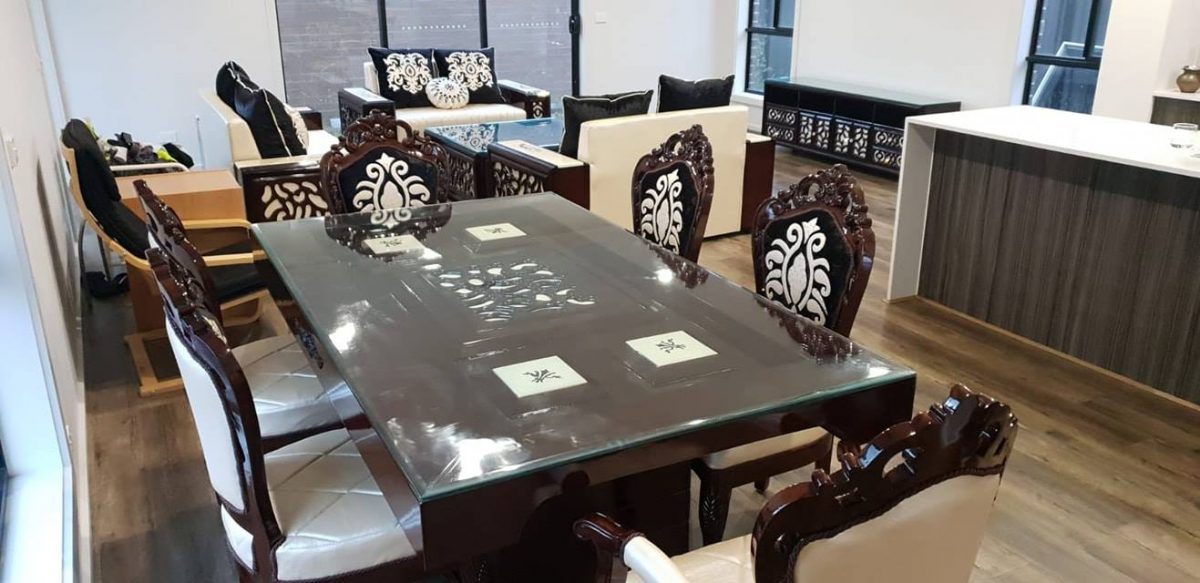 White And Black Wooden Dining Table