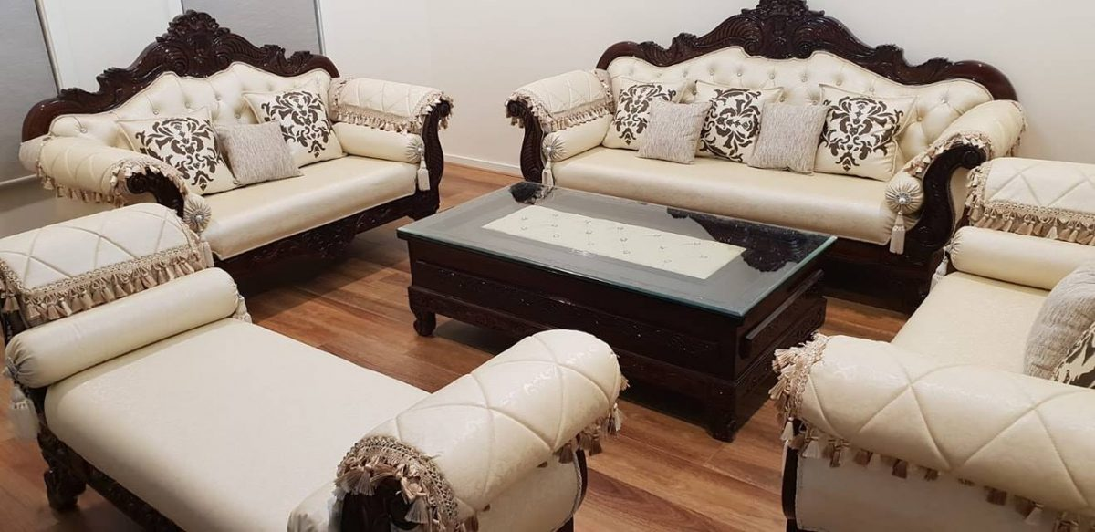 White-and-Brown-Sofa-Set