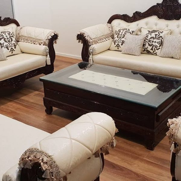 White and Brown Sofa Set