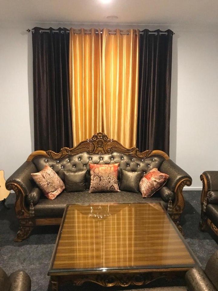 Dark-Wood-Silver-Black-Cushioned-Sofa-Set