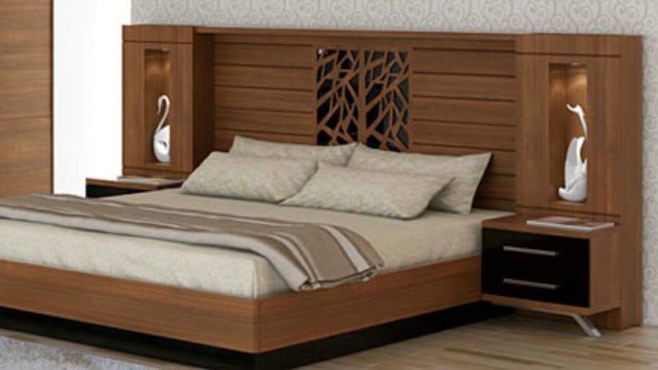 White and Brownish Bed with Sides