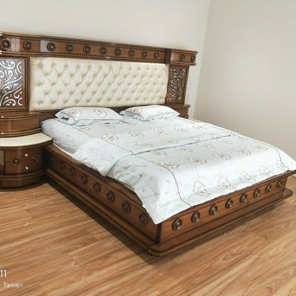 White and Brown Bed with Side Drawers
