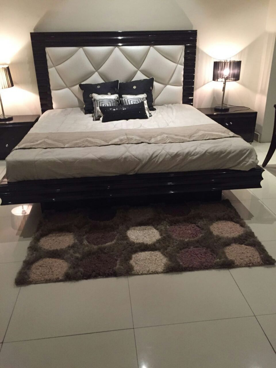 White and Black Designer Bed with sides