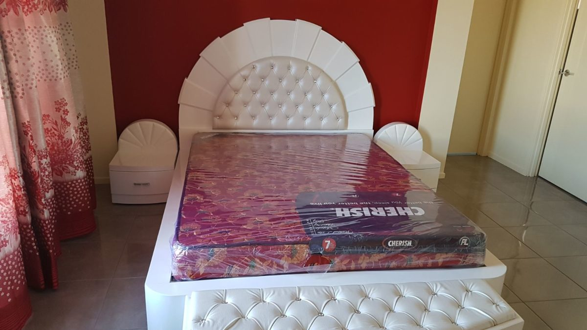 Newly Designed single white color Bed with Sides