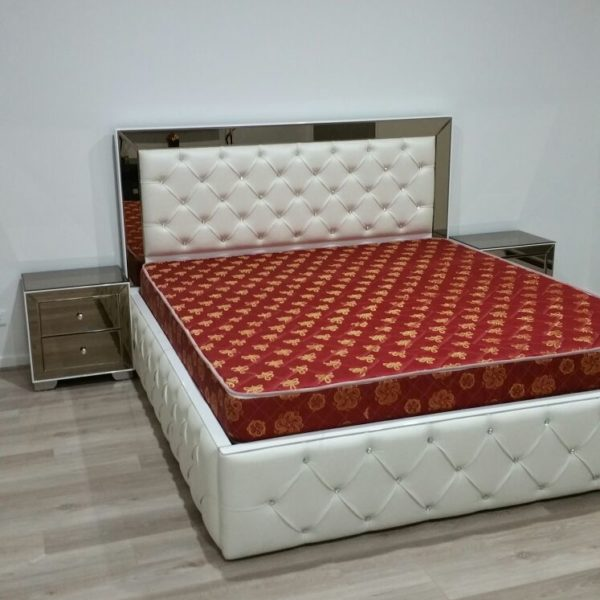 White and Brownish Double Bed with sides