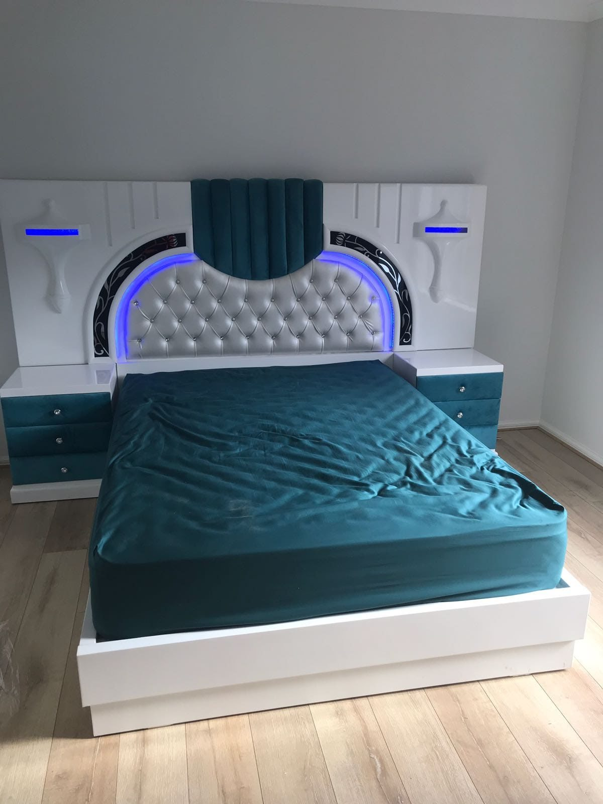 White and Blue Bed with Sides