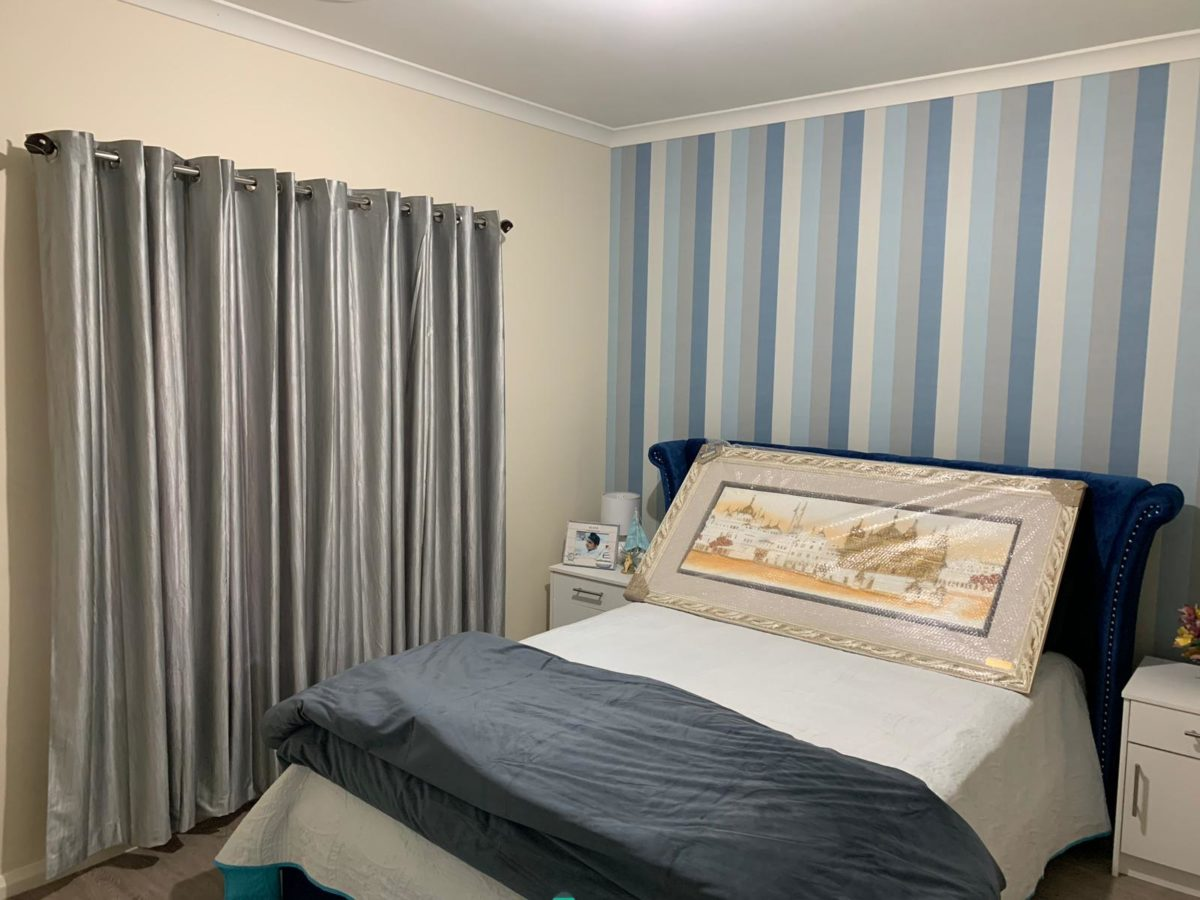 Blue and Single color combination Bed