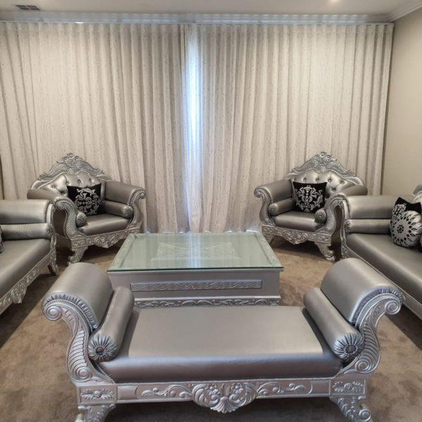 Royal Silver-Grey Sofa Set