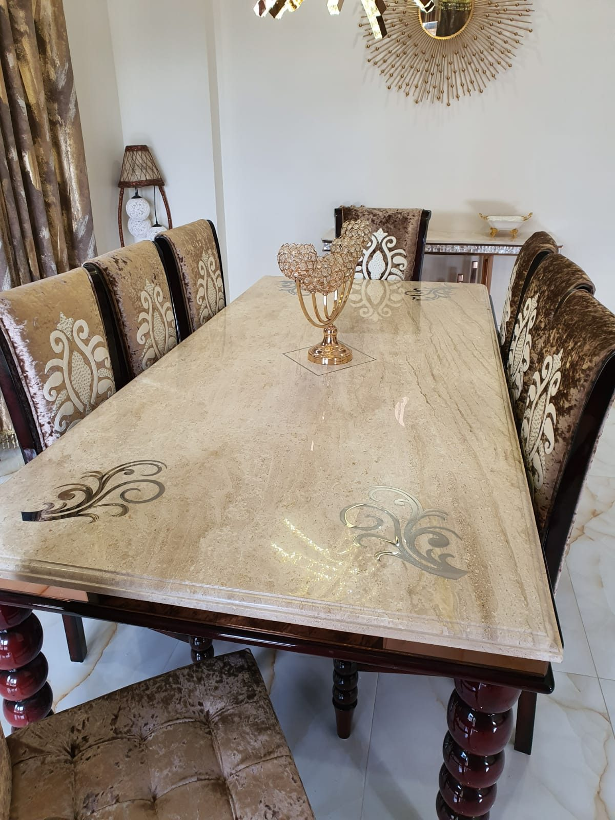 Marble Top Dining Table-8 Seater