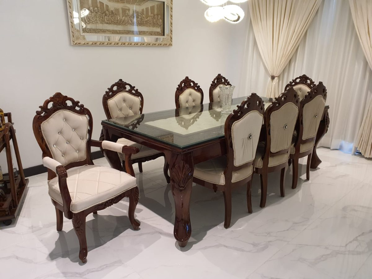 Glass Top Wooden Cushioned 8-Seater Dining Table