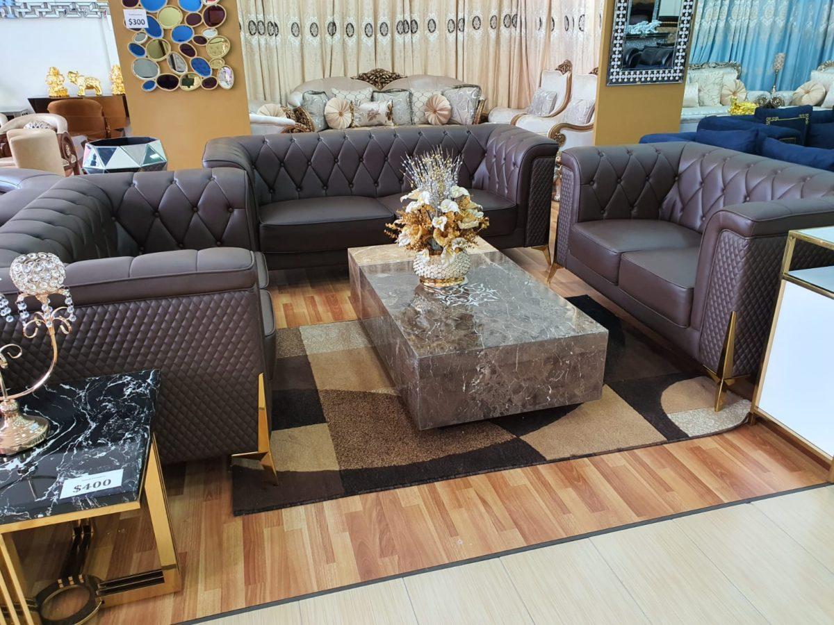 Dark Grey Leatherite Sofa Set