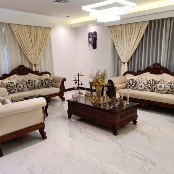 Rich Beige-Dark Brown Sofa Set