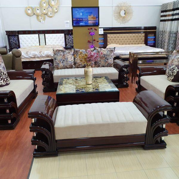 Beige-Dark Brown Sofa Set