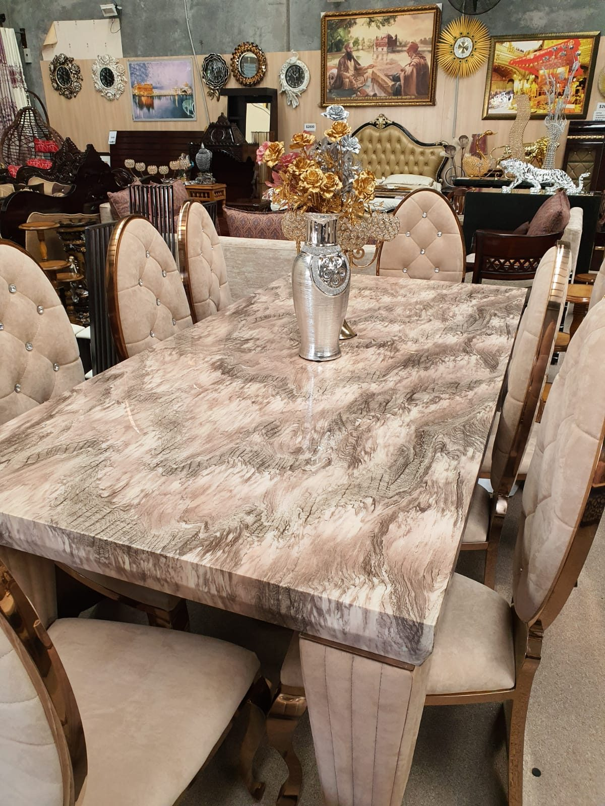 Elegant Marble Top 8-Seater Dining Table