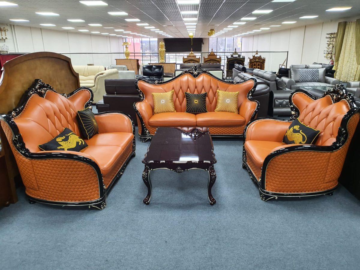 Tangerine Leatherite Sofa Set