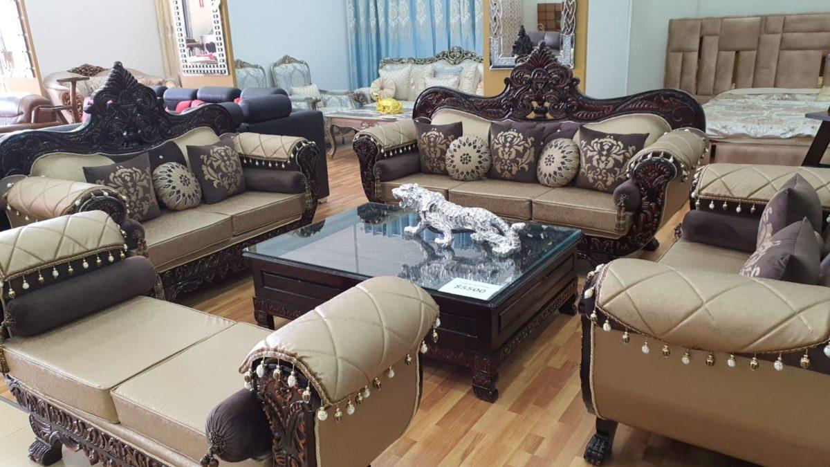 Dark Brown Golden Sofa Set