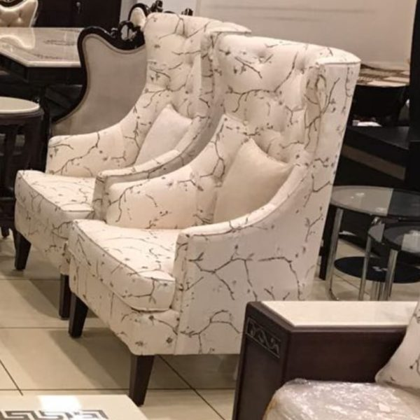 Set of 2 White Leatherite Chairs