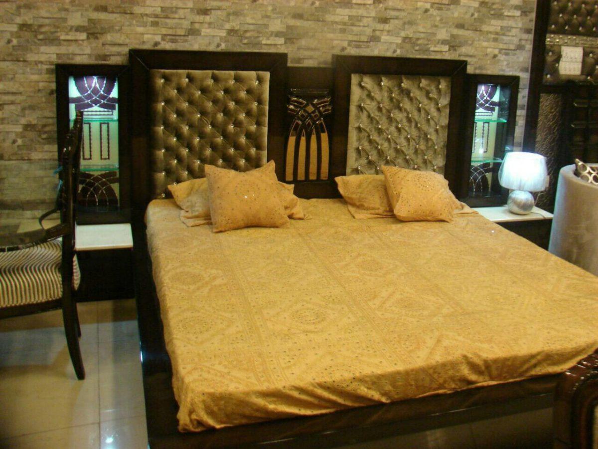 Dark Wooden Golden Cushion Double Bed