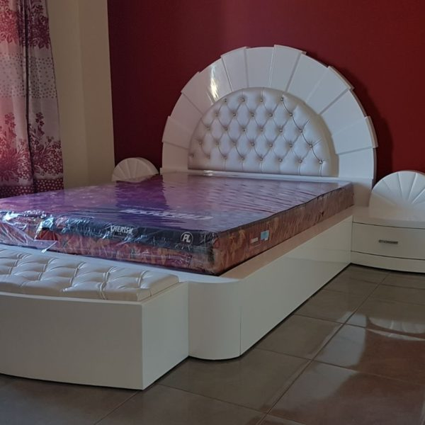 Elegant White PU Glossy Designer Double Bed