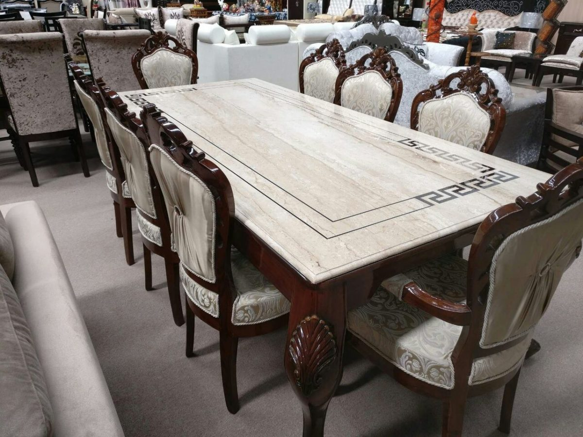 Elegant Beige Cushioned 8-Seater Dining Table