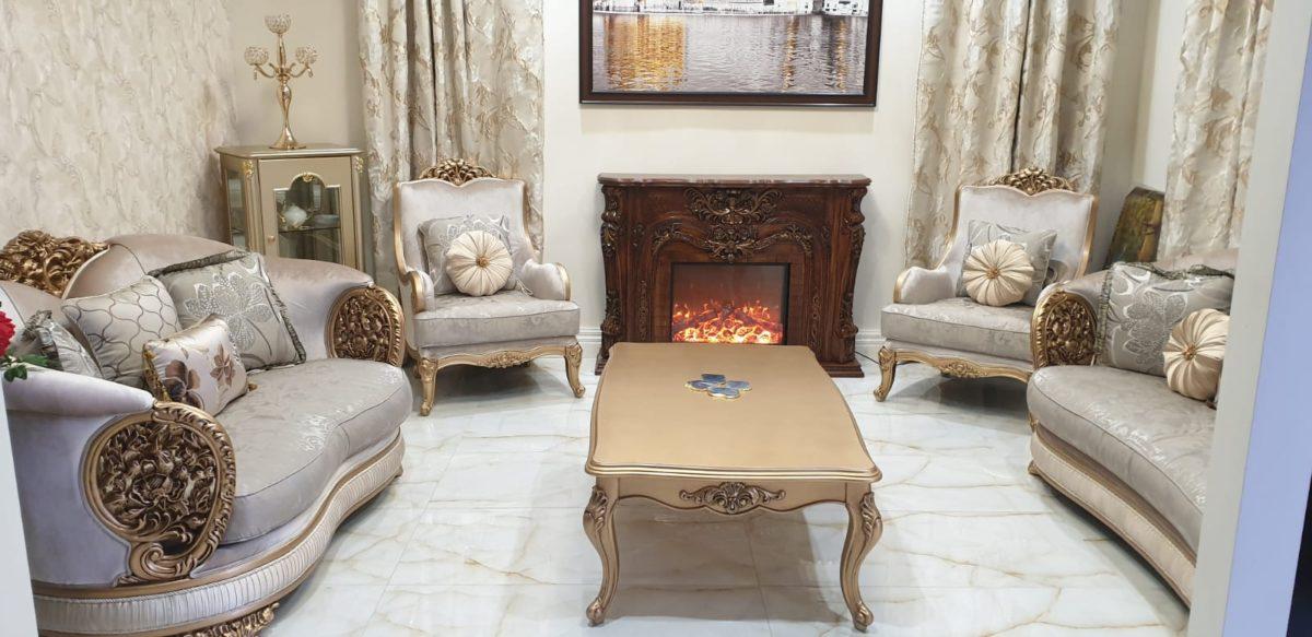 Rich Golden Designer Sofa Set