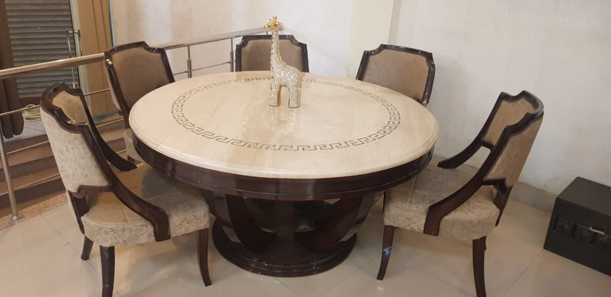 Golden Marble Top Round 6-Seater Dining Table