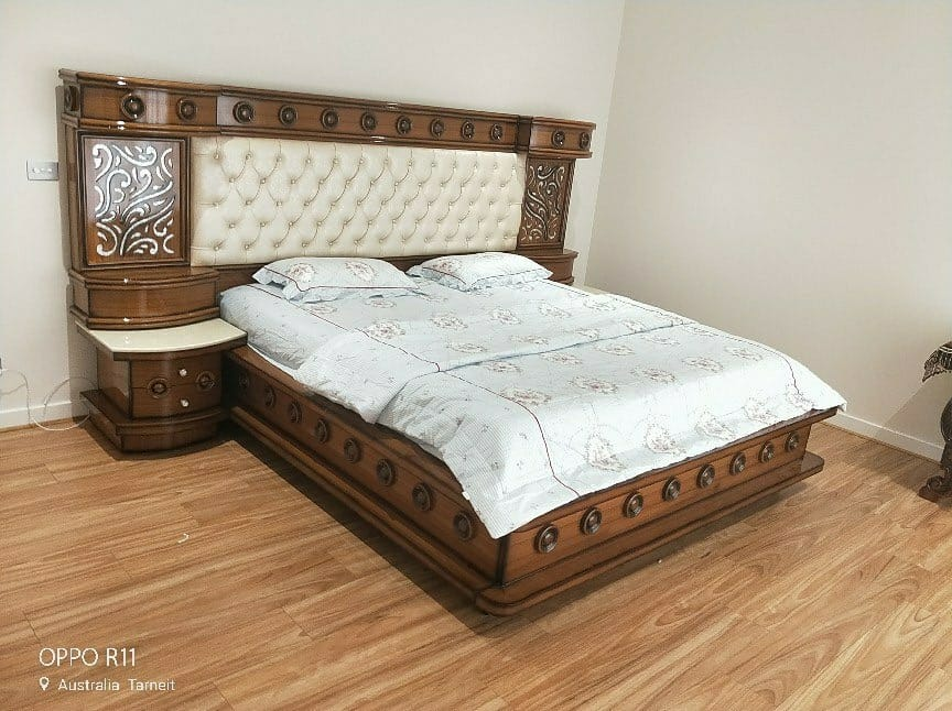 Royal Walnut Colored Beige Cushioned Double Bed