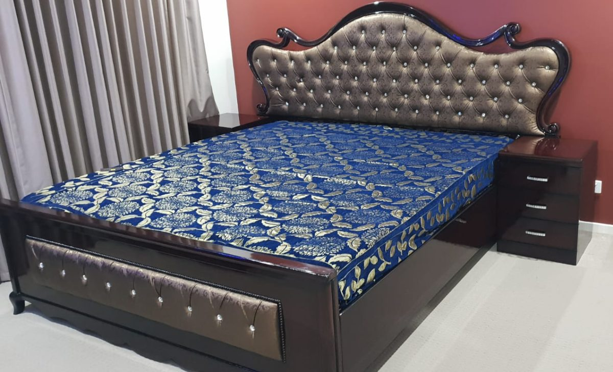 Dark Wooden Golden Cushioned Double Bed