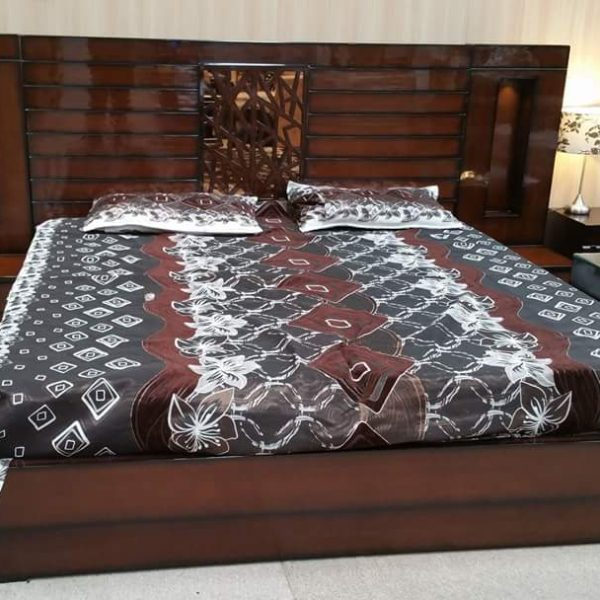 Dark Walnut Colored Double Bed