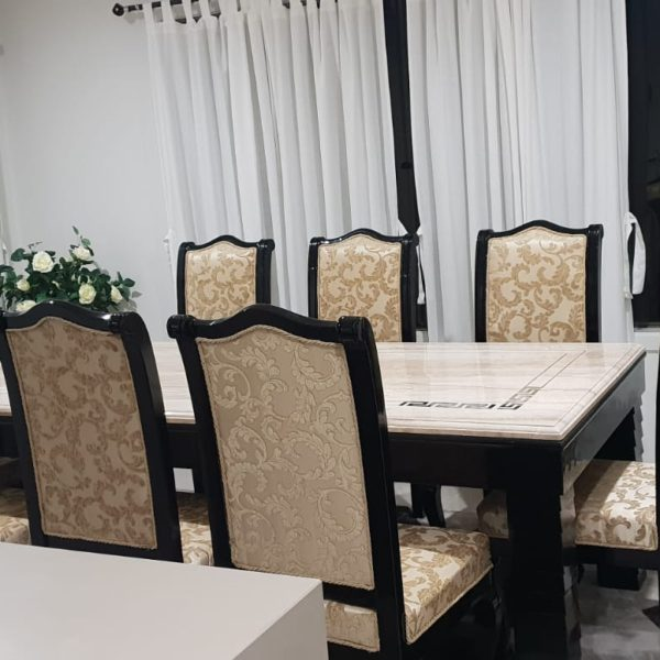 Beige Cushioned 8-Seater Dining Table