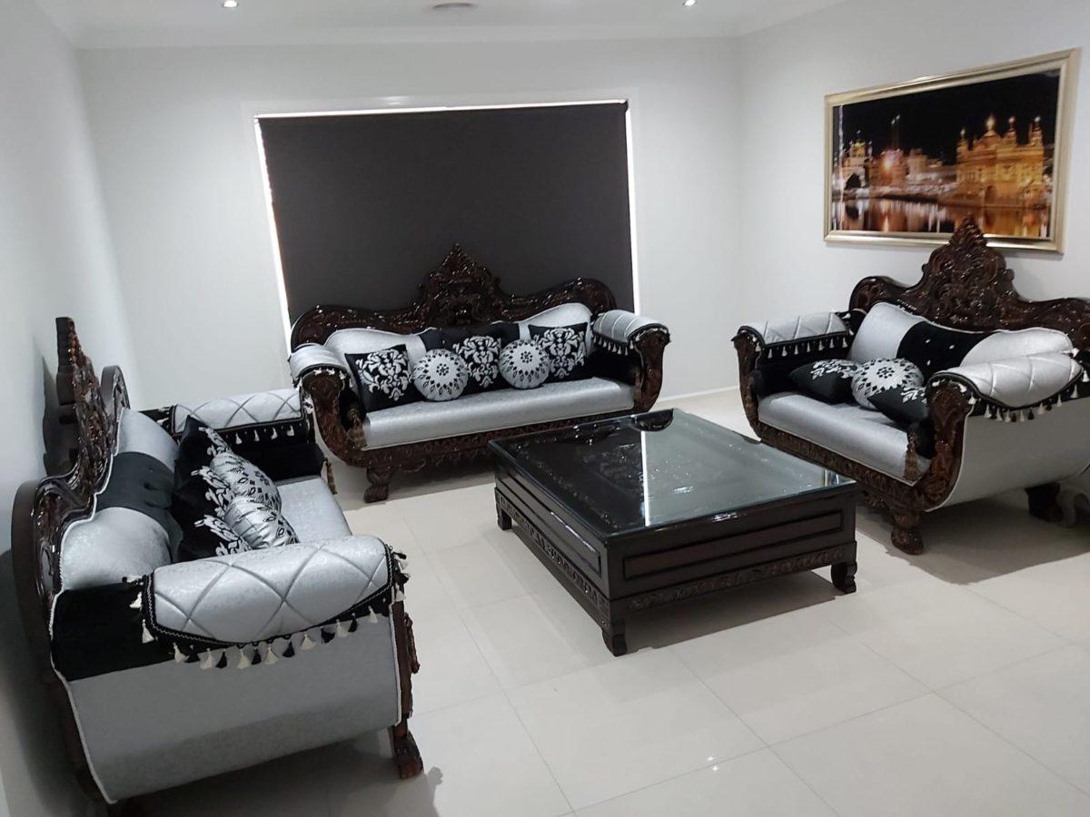 Dark Wood Silver-Black Cushioned Sofa Set