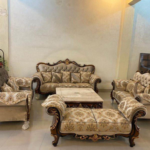 Royal Ethnic Walnut Colored Bronze Cushioned Sofa Set