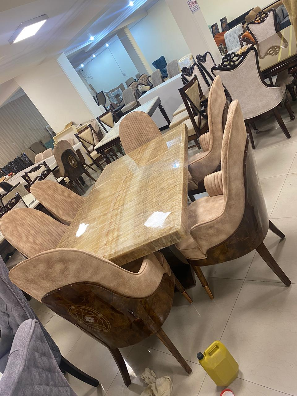 Luxury Designer Marble Top 8-Seater Dining Table