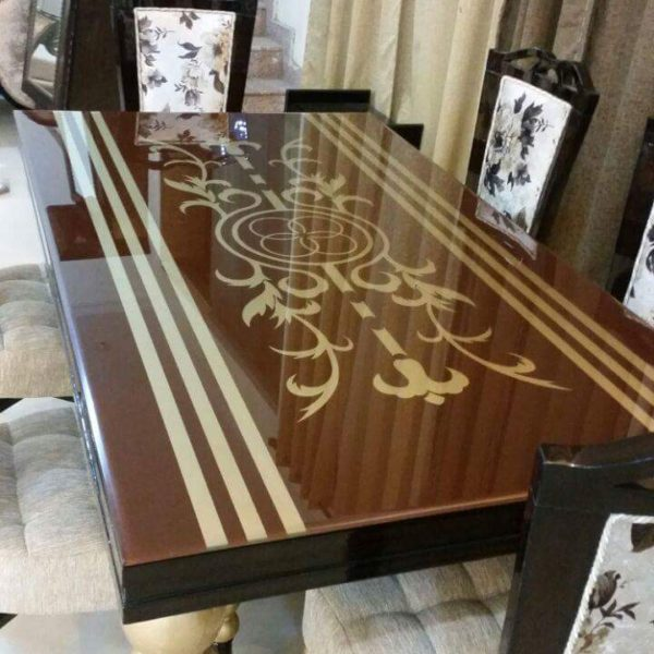 Brown Glass Top 6-Seater Dining Table