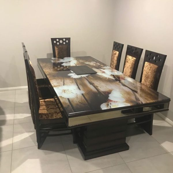 Elegant Glass Top 8-Seater Dining Table with Dark Golden Wooden Chairs
