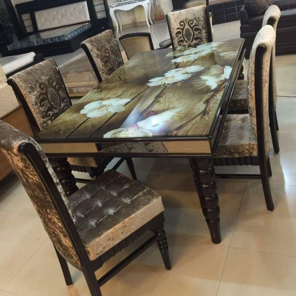 Floral Top Wooden Golden Cushioned Dining Table