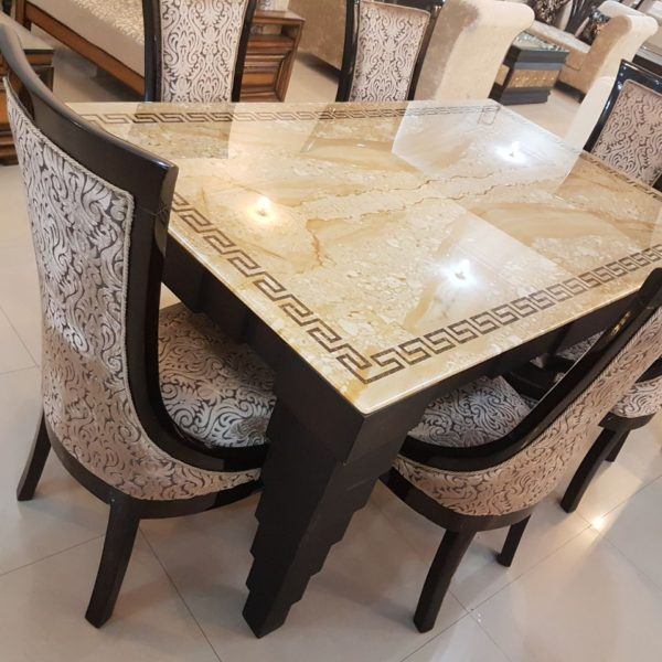 Italian Designer Marble Top Golden Colored Cushioned 6-Seater Dining Table