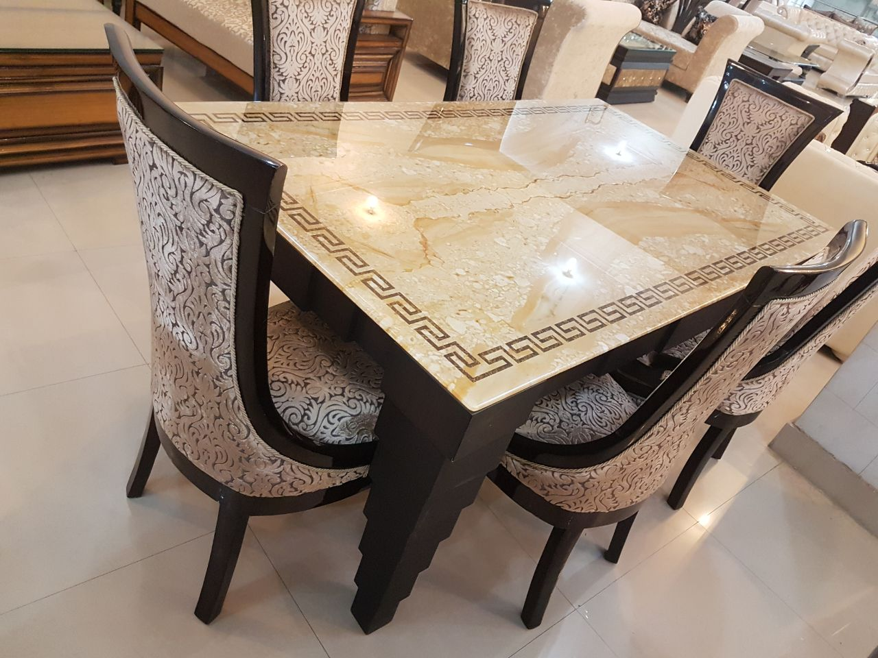 Buy Italian Designer Marble Top Golden Colored Cushioned 6 Seater Dining Table Online