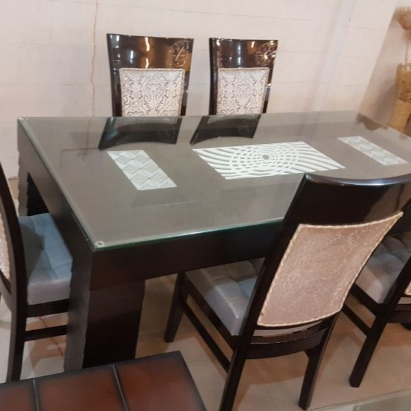 Dark Wooden 6-Seater Plain Glass Top Dining Table